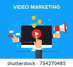 video marketing icon concept.... | Shutterstock .eps vector #734270485