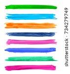 vector watercolor grunge brush... | Shutterstock .eps vector #734279749