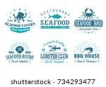 set of vintage seafood ... | Shutterstock .eps vector #734293477