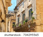 typical balcony of a baroque... | Shutterstock . vector #734295565