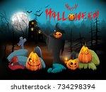 halloween background.vector...   Shutterstock .eps vector #734298394