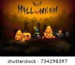 halloween background.vector...   Shutterstock .eps vector #734298397
