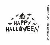 happy halloween text  vector | Shutterstock .eps vector #734298859