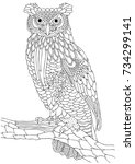 wise owl. hand drawn picture.... | Shutterstock .eps vector #734299141