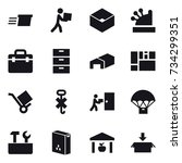 16 vector icon set   delivery ... | Shutterstock .eps vector #734299351