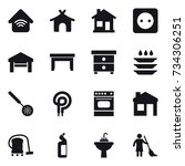 16 vector icon set   wireless... | Shutterstock .eps vector #734306251