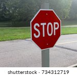 a red stop sign on a foggy... | Shutterstock . vector #734312719