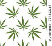 seamless pattern of cannabis... | Shutterstock . vector #734313169