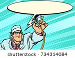 doctor physician with... | Shutterstock .eps vector #734314084