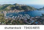 aerial view mallorca spain port ... | Shutterstock . vector #734314855