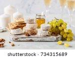 christmas cheese platter ... | Shutterstock . vector #734315689