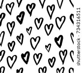 hand drawn texture. hearts ... | Shutterstock .eps vector #734316511