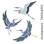 stylized birds   herons in... | Shutterstock .eps vector #734316991