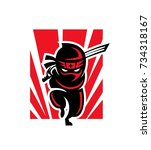 ninja shadow logo mascot | Shutterstock .eps vector #734318167