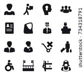 16 vector icon set   woman ... | Shutterstock .eps vector #734318791