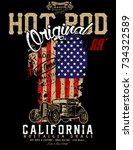 hotrod originals loud and fast... | Shutterstock .eps vector #734322589