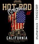 hotrod originals loud and fast... | Shutterstock .eps vector #734322589