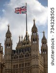London, 28th September 2017:- The Union Flag flying at the Palace of Westminster, home to the British Parliment - stock photo