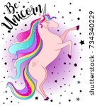 be unicorn cute magical unicorn ... | Shutterstock .eps vector #734340229
