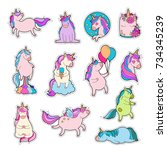 magic unicorn patches. trendy... | Shutterstock .eps vector #734345239