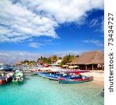 isla mujeres island dock port... | Shutterstock . vector #73434727
