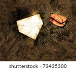 Home plate on baseball field with copy space - stock photo