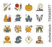 colorful halloween party symbol ... | Shutterstock .eps vector #734360377