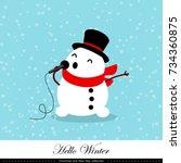 playful snowman. winter ... | Shutterstock .eps vector #734360875