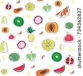 fruits  doodle    Shutterstock .eps vector #734362837