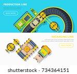 top view horizontal banners of... | Shutterstock . vector #734364151