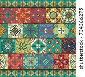 seamless pattern with... | Shutterstock .eps vector #734366275