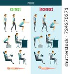 correct and incorrect posture... | Shutterstock . vector #734370271