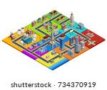 city map isometric construction ...   Shutterstock . vector #734370919