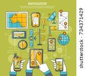 navigation  illustration with...   Shutterstock . vector #734371429