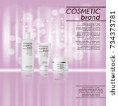3d realistic cosmetic bottle... | Shutterstock .eps vector #734373781