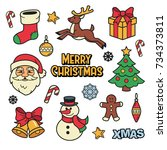 merry christmas patches... | Shutterstock .eps vector #734373811