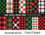 christmas tartan and buffalo... | Shutterstock .eps vector #734375869