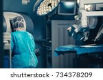 surgical room in hospital with... | Shutterstock . vector #734378209