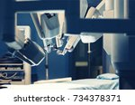 surgical room in hospital with... | Shutterstock . vector #734378371