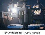 surgical room in hospital with... | Shutterstock . vector #734378485