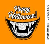 halloween illustration with... | Shutterstock . vector #734385571