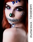 fashion model with halloween... | Shutterstock . vector #734385895