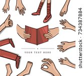 hands and legs design with text ... | Shutterstock .eps vector #734387884