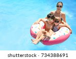 young woman and her children... | Shutterstock . vector #734388691