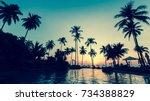 beautiful twilight at a... | Shutterstock . vector #734388829