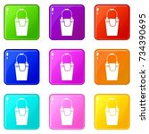 bucket and rag icons of 9 color ... | Shutterstock . vector #734390695