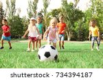 cute children playing with ball ... | Shutterstock . vector #734394187
