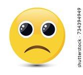 sad emoticon. sorrowful emoji... | Shutterstock .eps vector #734394949