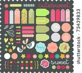 cute scrapbook graphic elements ... | Shutterstock .eps vector #73439833