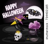 happy halloween cartoon...   Shutterstock .eps vector #734402185